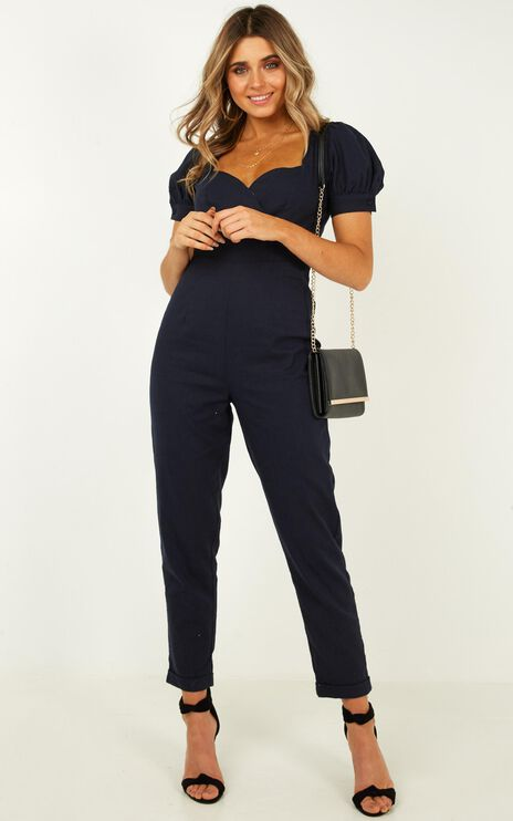 Move On Sweetheart Jumpsuit In Navy