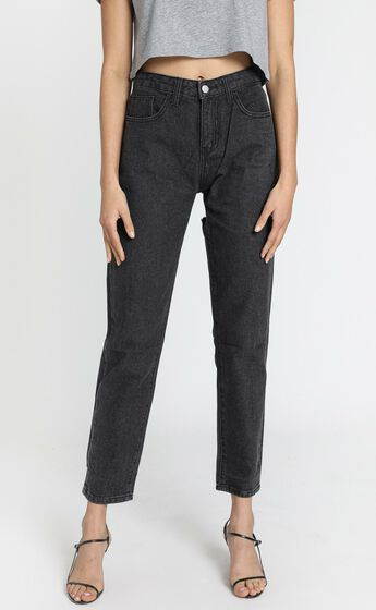 Back It Up Mom Jeans in Charcoal
