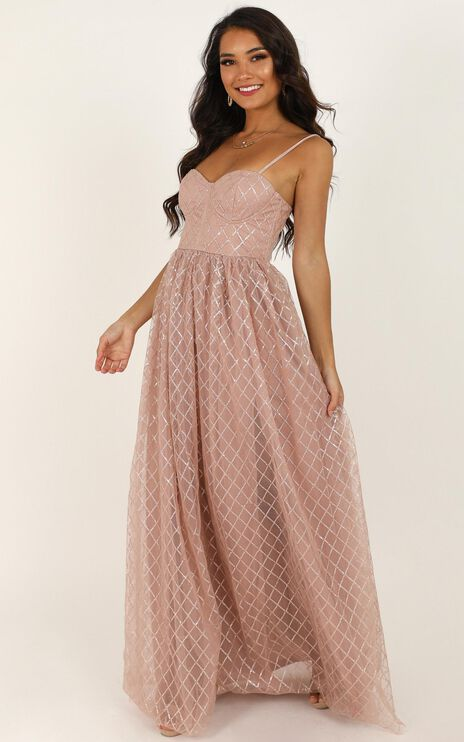 Sparkle With Love Dress In Blush Glitter
