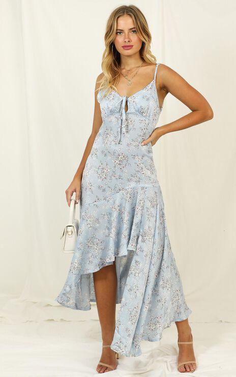 Never Forget Me Dress In Blue Floral Satin