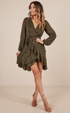 Lots To Give Dress In Khaki