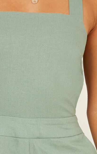 Kings Court playsuit in sage linen look - 20 (XXXXL), Sage, hi-res image number null