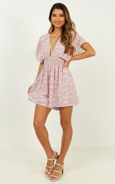 Sweetest Call Playsuit In Blush Print