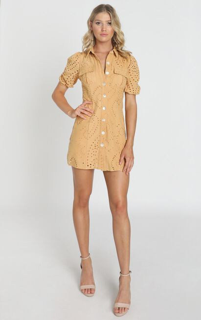 Talia Dress in mustard embroidery - 8 (S), Mustard, hi-res image number null