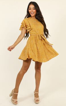 Little Thriller Dress In Mustard Floral