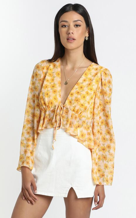 Dance It Out Top in Sunflower Print