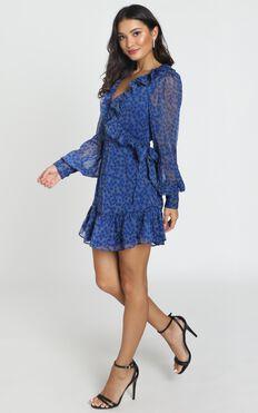 Alesha Long Sleeve Mini dress in cobalt blue floral