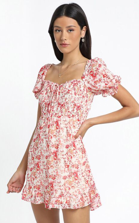 Shona Dress in Red Floral