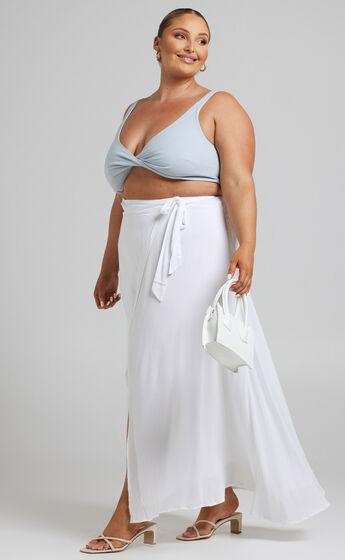 Break A Leg Wrap Thigh Split Maxi Skirt in White