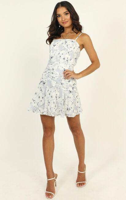 Flight Mode dress in white floral - 14 (XL), Blue, hi-res image number null