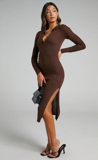 Ellidy Midi Knit Dress in Dark Chocolate Brown