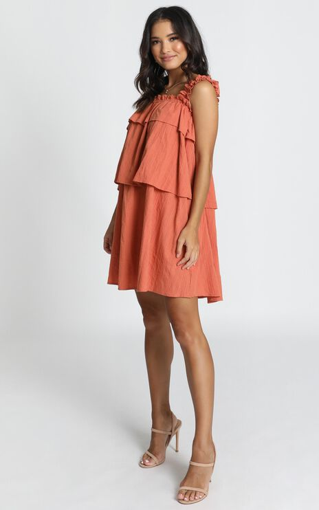 Zaya Tiered Shift Dres In Rust