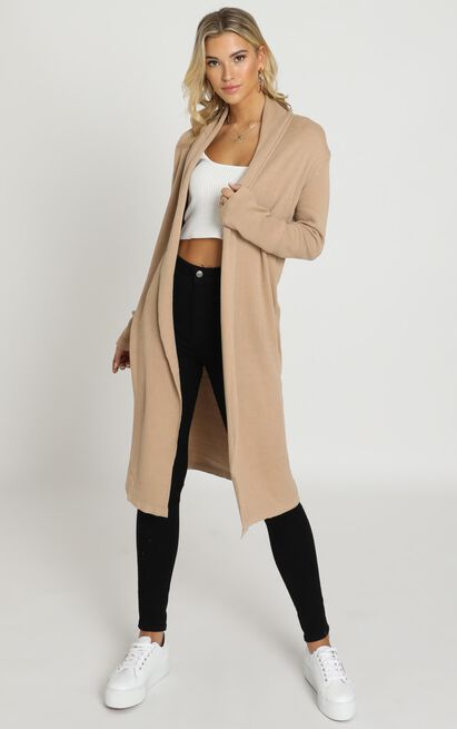 Strong Spirited Knit Coat In Camel - 20 (XXXXL), Camel, hi-res image number null