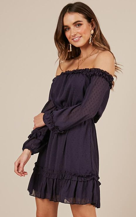 Grab Your Attention Dress In Navy