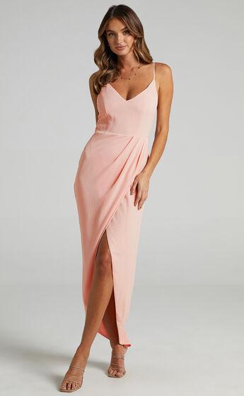 Lucky Day Drape Maxi Dress in Blush