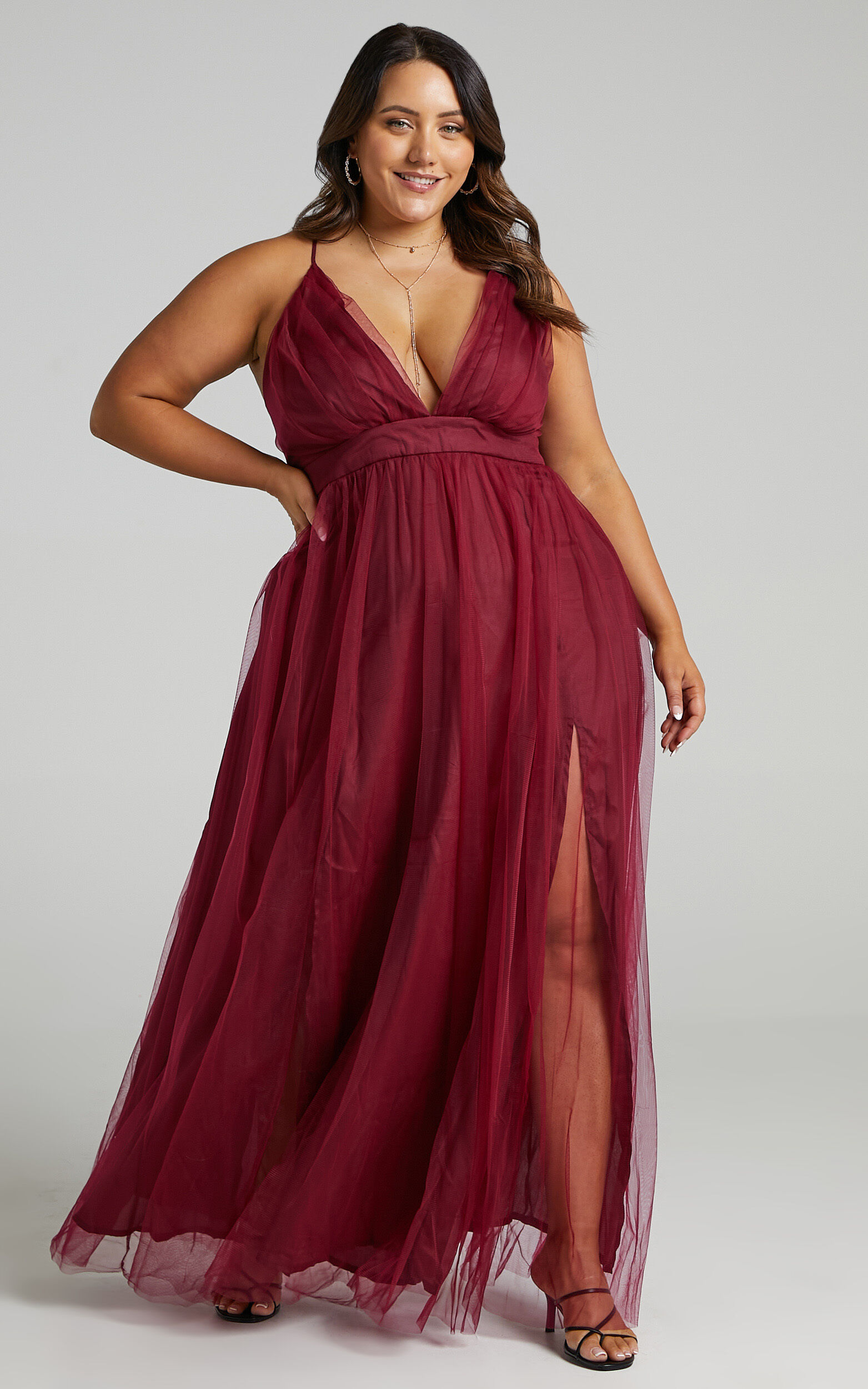 Tell Me Lies Dress in Wine Tulle - 06, WNE5, super-hi-res image number null