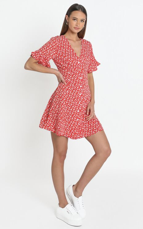 Tamara Dress in Red Floral