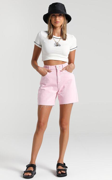 Abrand x Dyspnea - A Claudia Cut Off Denim Short in Pink