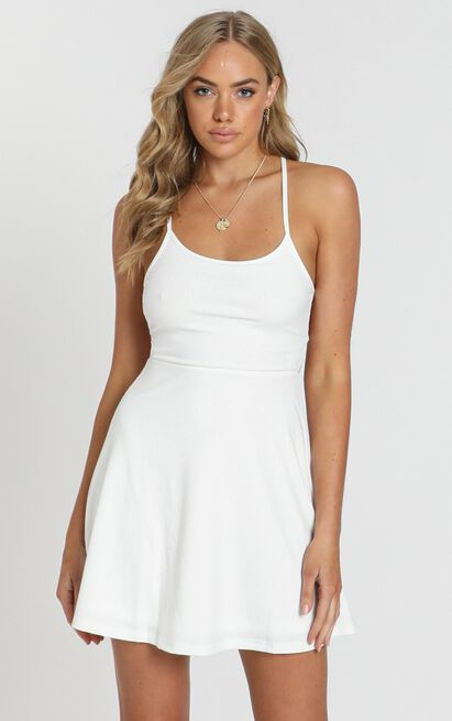 Authenticity Dress in white rib - 20 (XXXXL), White, hi-res image number null