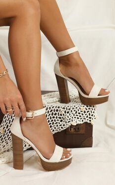 Showpo X Billini - Tahiti Heels In White Linen