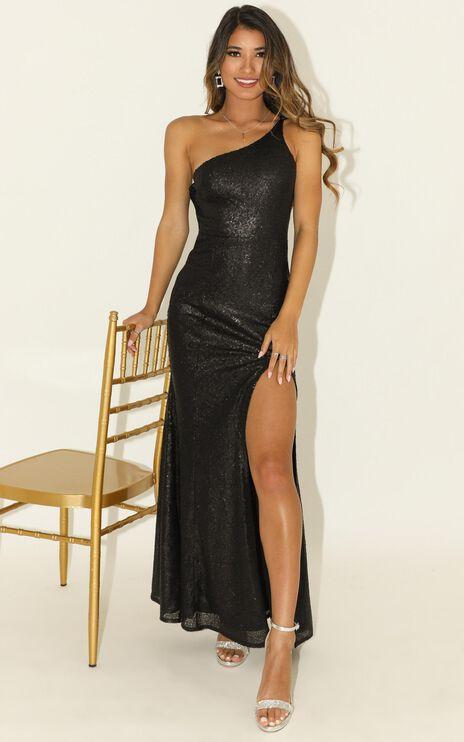Started Singing Dress In Black Matte Sequin