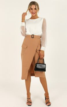 Decision Maker Skirt In Camel