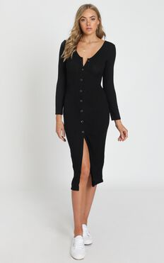 By The Bonfire Dress in Black Marle