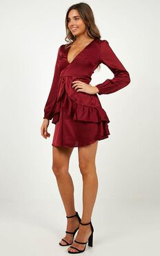 White Lies Dress In Wine Satin