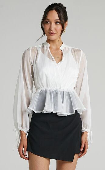 Kimmy Longsleeve Sheer Blouse in White