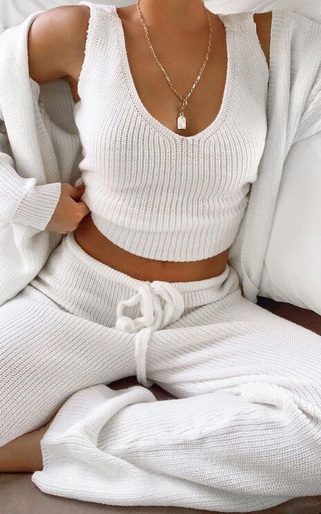 Luxe Lounge Knit Vest in Cream