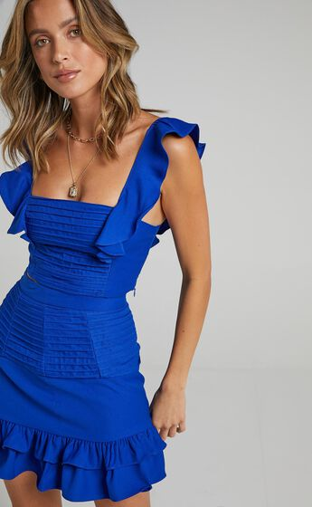 Make Me Stay Two Piece Set in Cobalt
