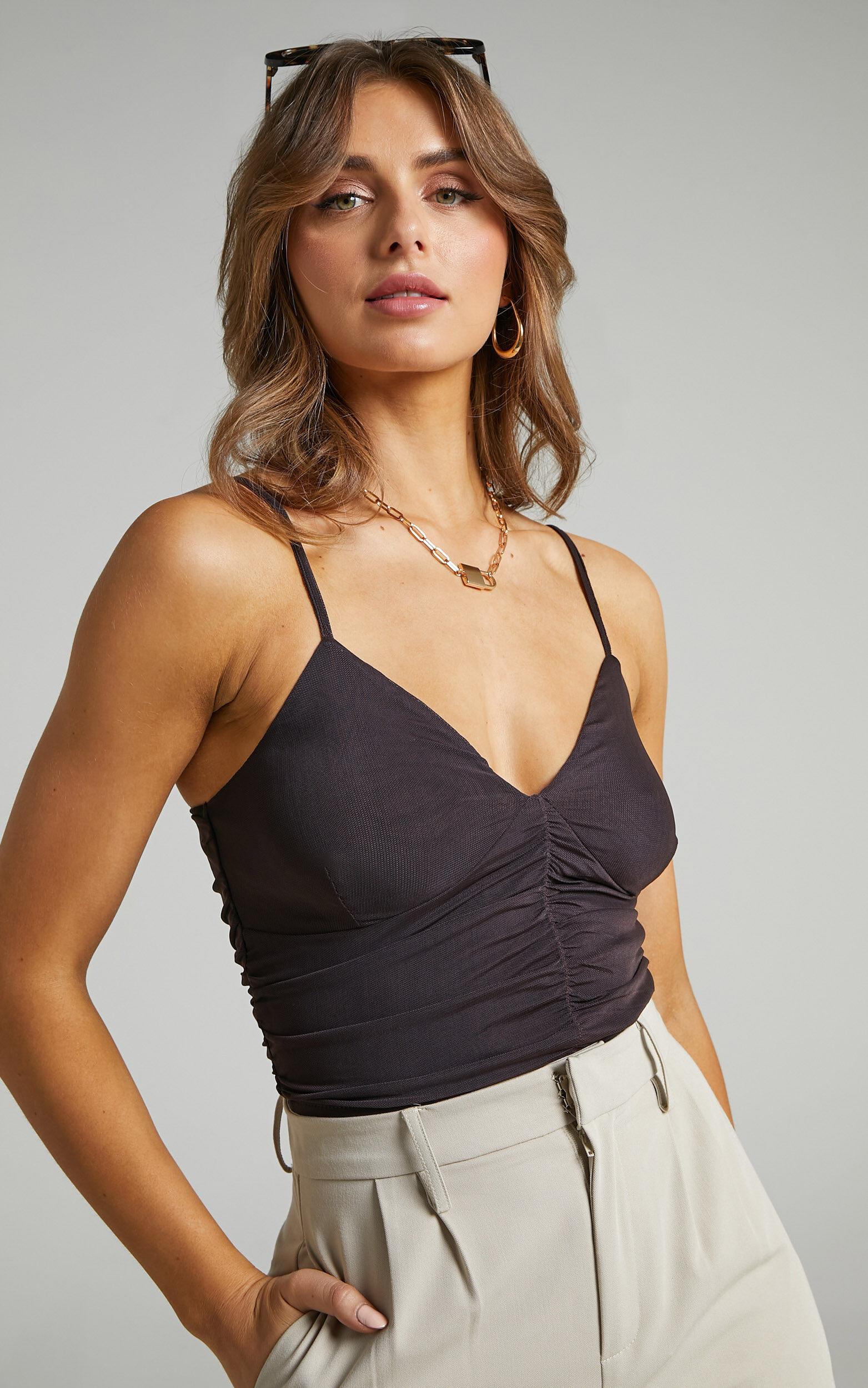 Emrata Strappy Mesh Top in Chocolate - 06, BRN1, super-hi-res image number null