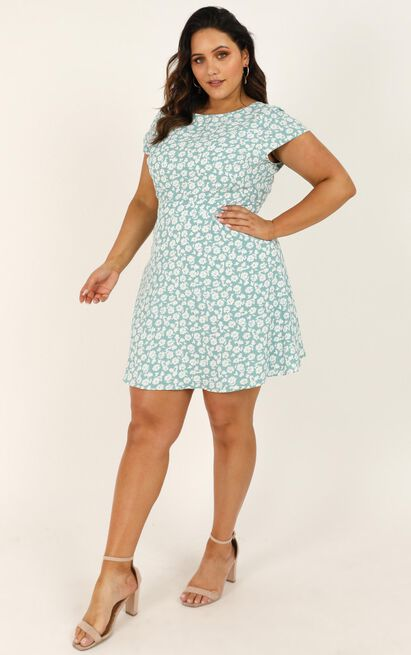 The Era Of Love Dress in mint floral - 20 (XXXXL), Green, hi-res image number null