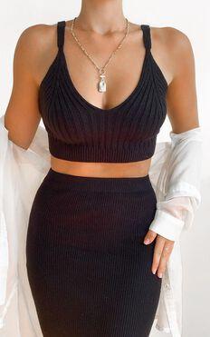 Jessie Knit Cami In Black Rib