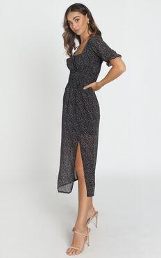 Stella Shirred Waist Midi Dress in Black Floral