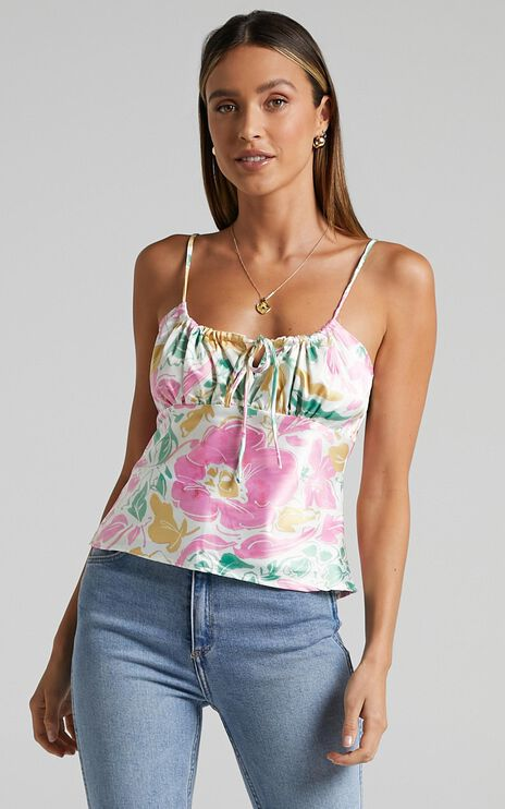 Gordes Top in Electric Floral