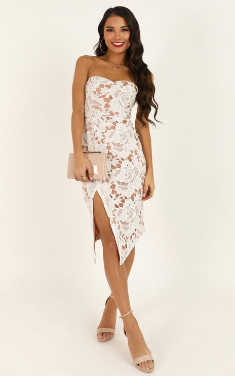 Lace To Lace Dress In White Lace
