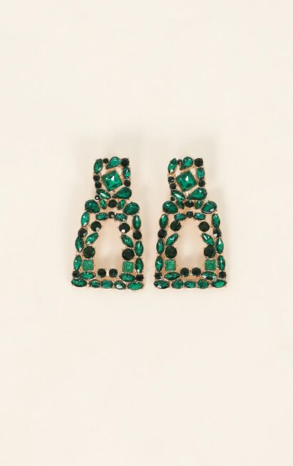 Wanna Go Out Earrings In Emerald, Green, hi-res image number null