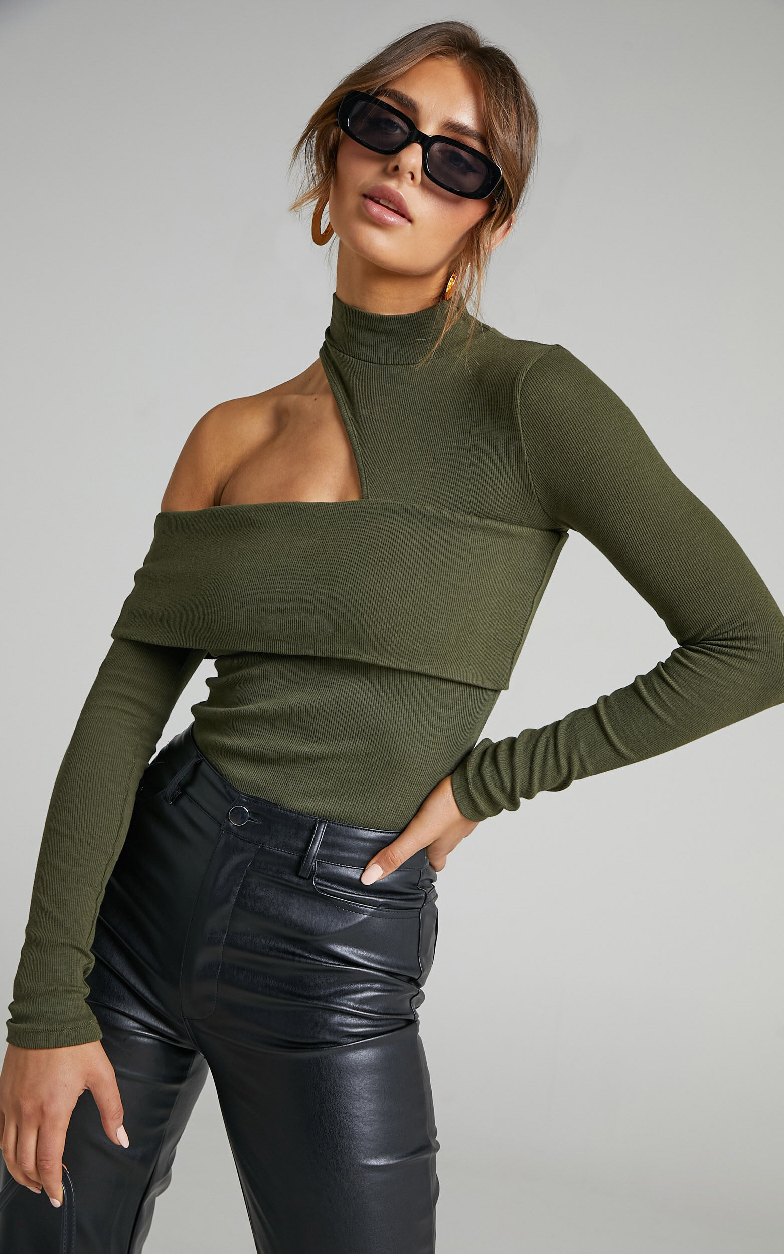 Kiefer Asymmetric Cutout Top in Khaki - 06, GRN2, super-hi-res image number null