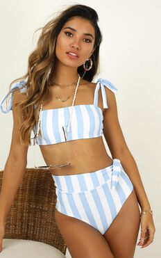 Paityn Bikini Top In  Blue Stripe