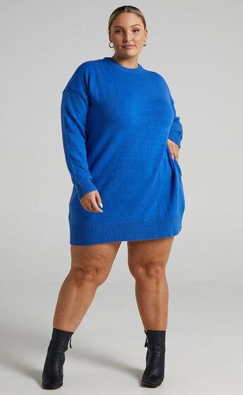 Shanisse Open Back Mini Knit Dress in Cobalt