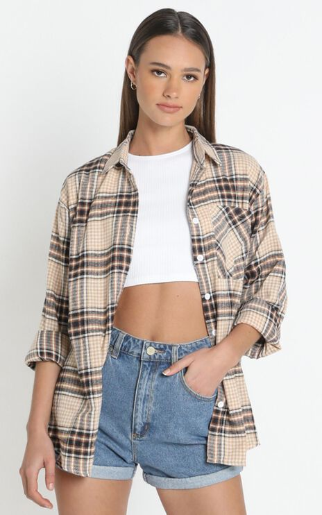Andrews Top in Tan Plaid