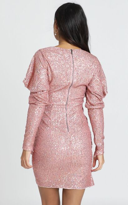Lucie Dress in rose gold sequin - 6 (XS), Rose Gold, hi-res image number null