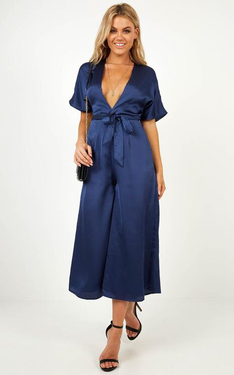 Starting The Night Jumpsuit In Navy Satin