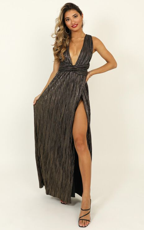 I Just Wanna Live Tonight Dress In Metallic Pleats