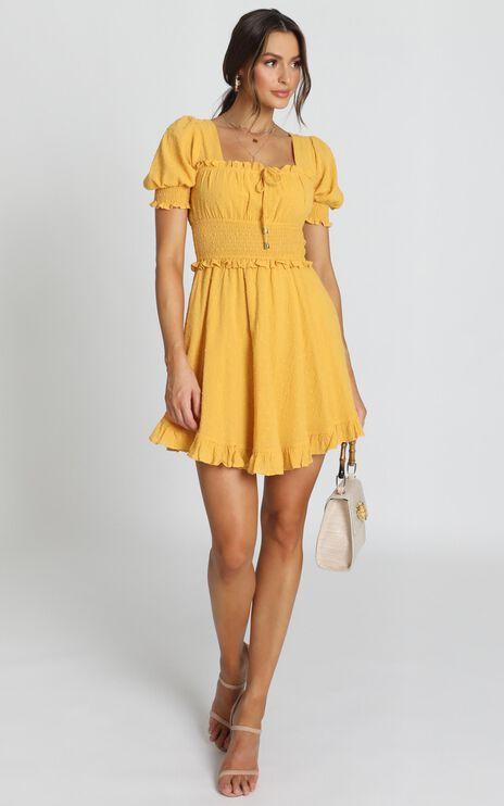 Niamh Ruffle Mini Dress In Yellow