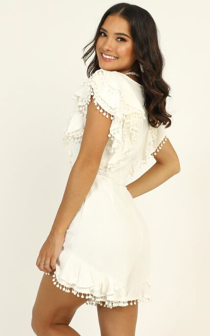 Dream All Day Ruffle Playsuit in white - 12 (L), White, hi-res image number null