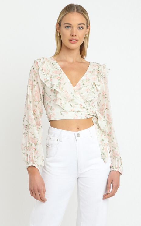 Desde Top in White Floral