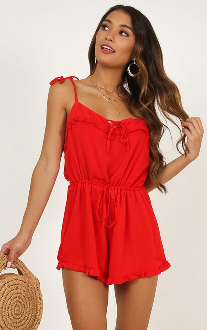 Certain Favour Playsuit in red - 20 (XXXXL), Red, hi-res image number null
