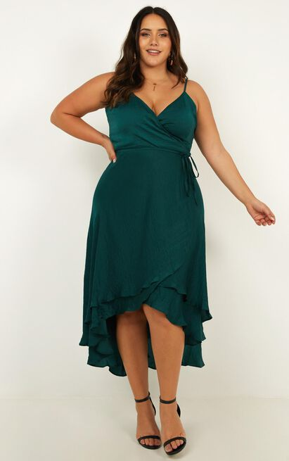 Between Fantasy Dress in emerald satin 4 (XXS), Green, hi-res image number null